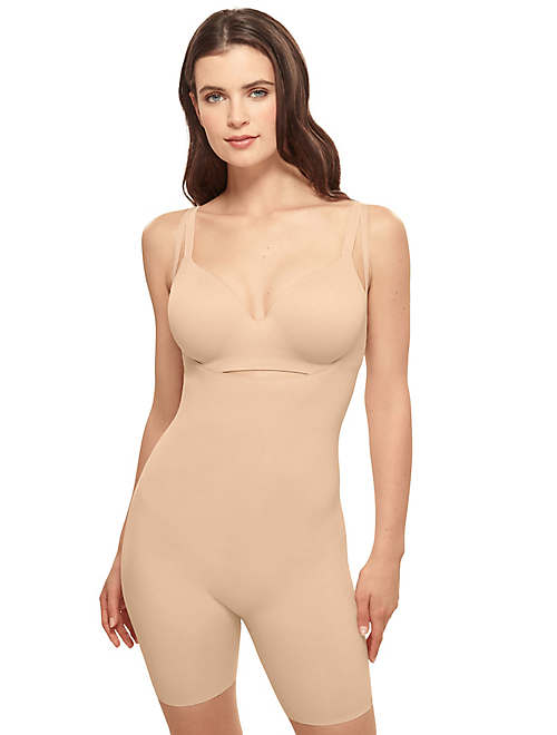 Beyond Naked Cotton Blend Open Bust Thigh Shaper - 802330